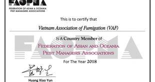 VAF chính thức trở thành thành viên của Liên đoàn các Hiệp hội Quản Lý Dịch Hại Châu Á Thái Bình Dương (FAOPMA) FAOPMA Membership Certificate 2018 VAF 1 310x165