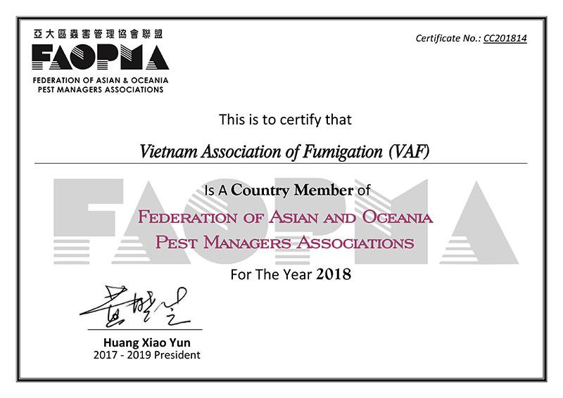 VAF chính thức trở thành thành viên của Liên đoàn các Hiệp hội Quản Lý Dịch Hại Châu Á Thái Bình Dương (FAOPMA) FAOPMA Membership Certificate 2018 VAF 1
